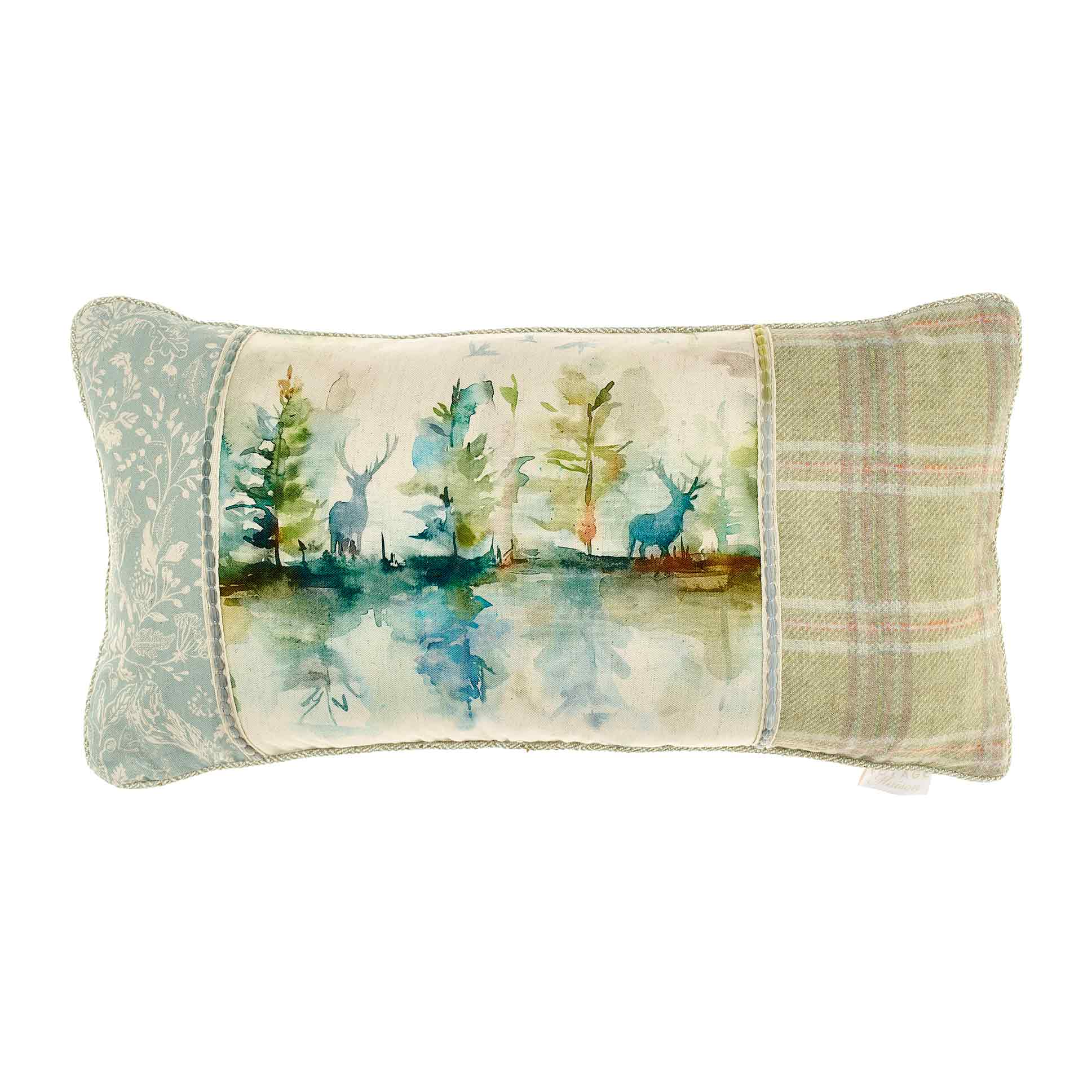 Wilderness Topaz Patchwork Linen Cushion 35x70cm