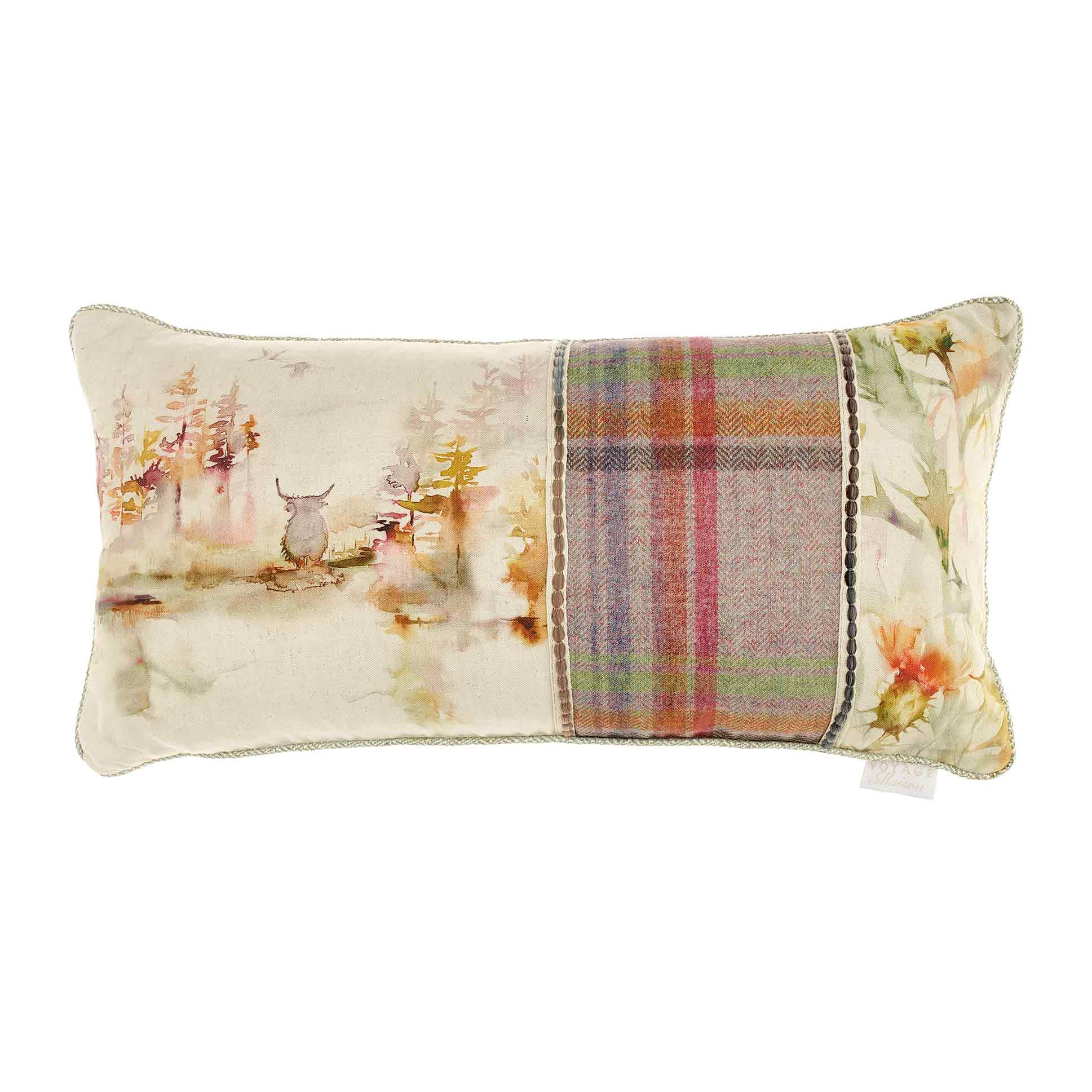 Caledonian Forest Patchwork Linen Cushion 35x70cm