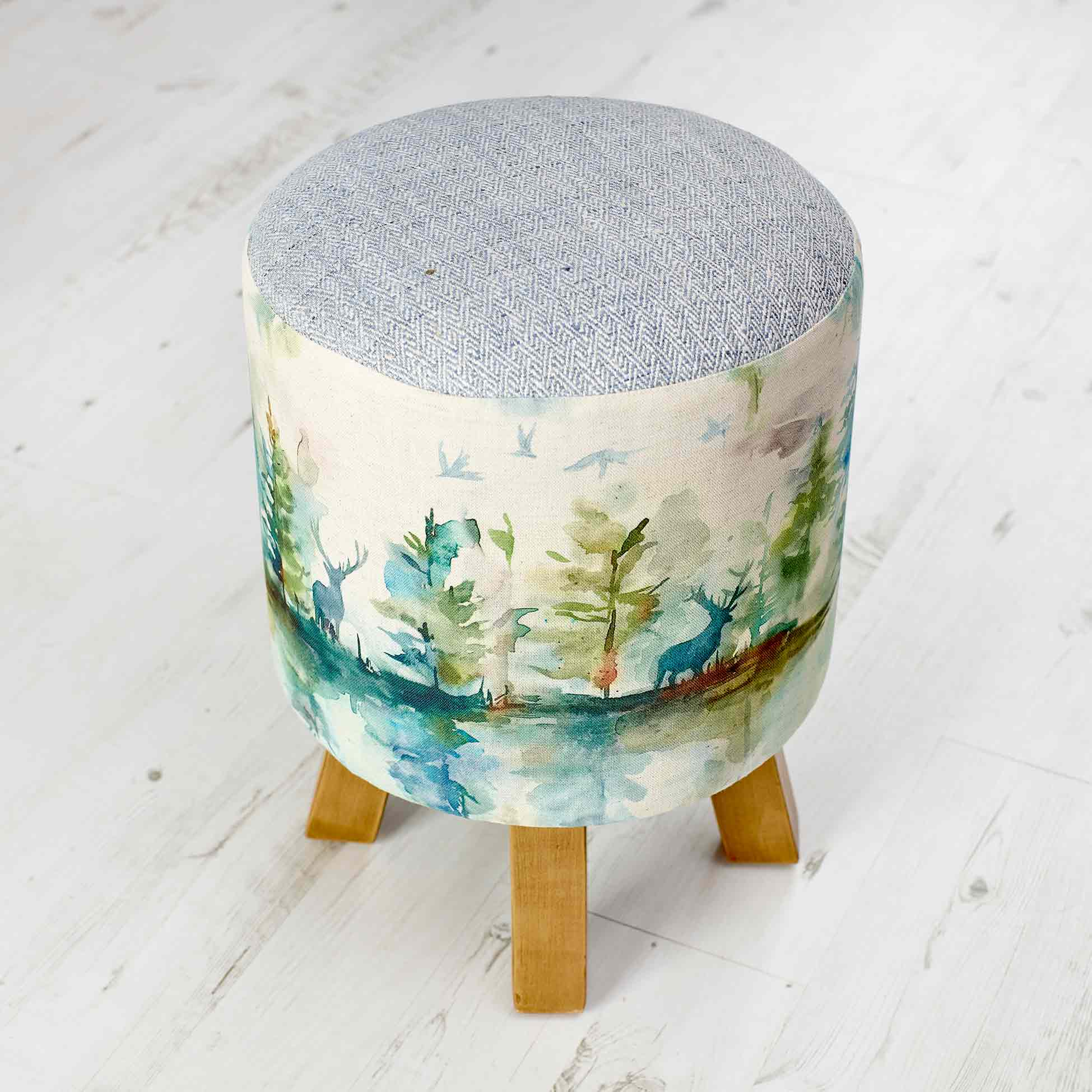 Wilderness Topaz Linen Stool 25x45cm