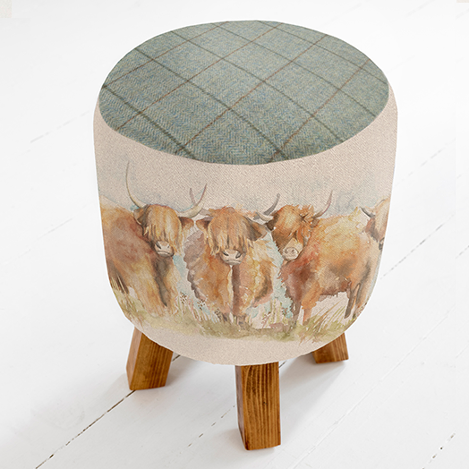 Highland Cattle Linen Stool 25x45cm