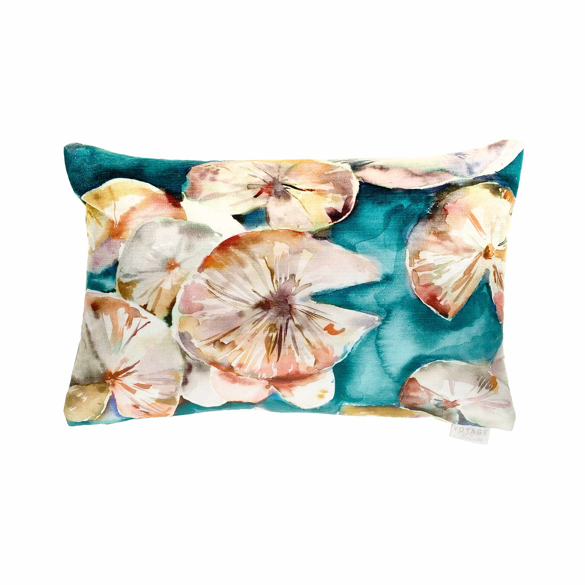 Lily Pad Amber (Emerald) Velvet Cushion 40x60cm