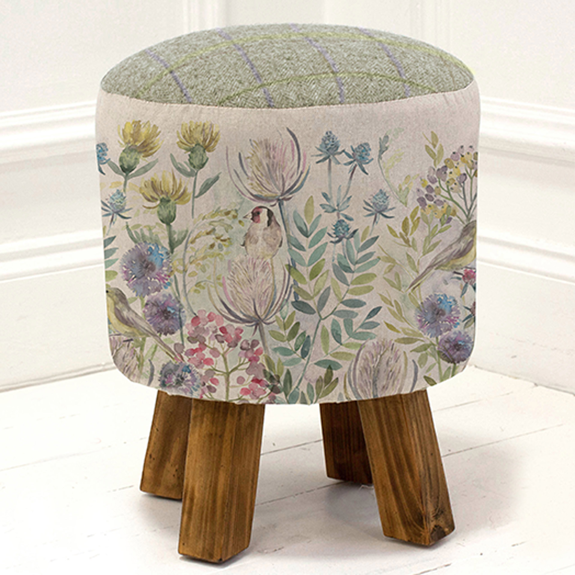 Morning Chorus Linen Stool 25x45cm