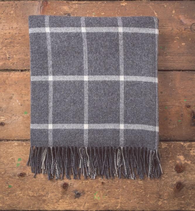 Charcoal/White Check Lambswool Throw 140x180cm