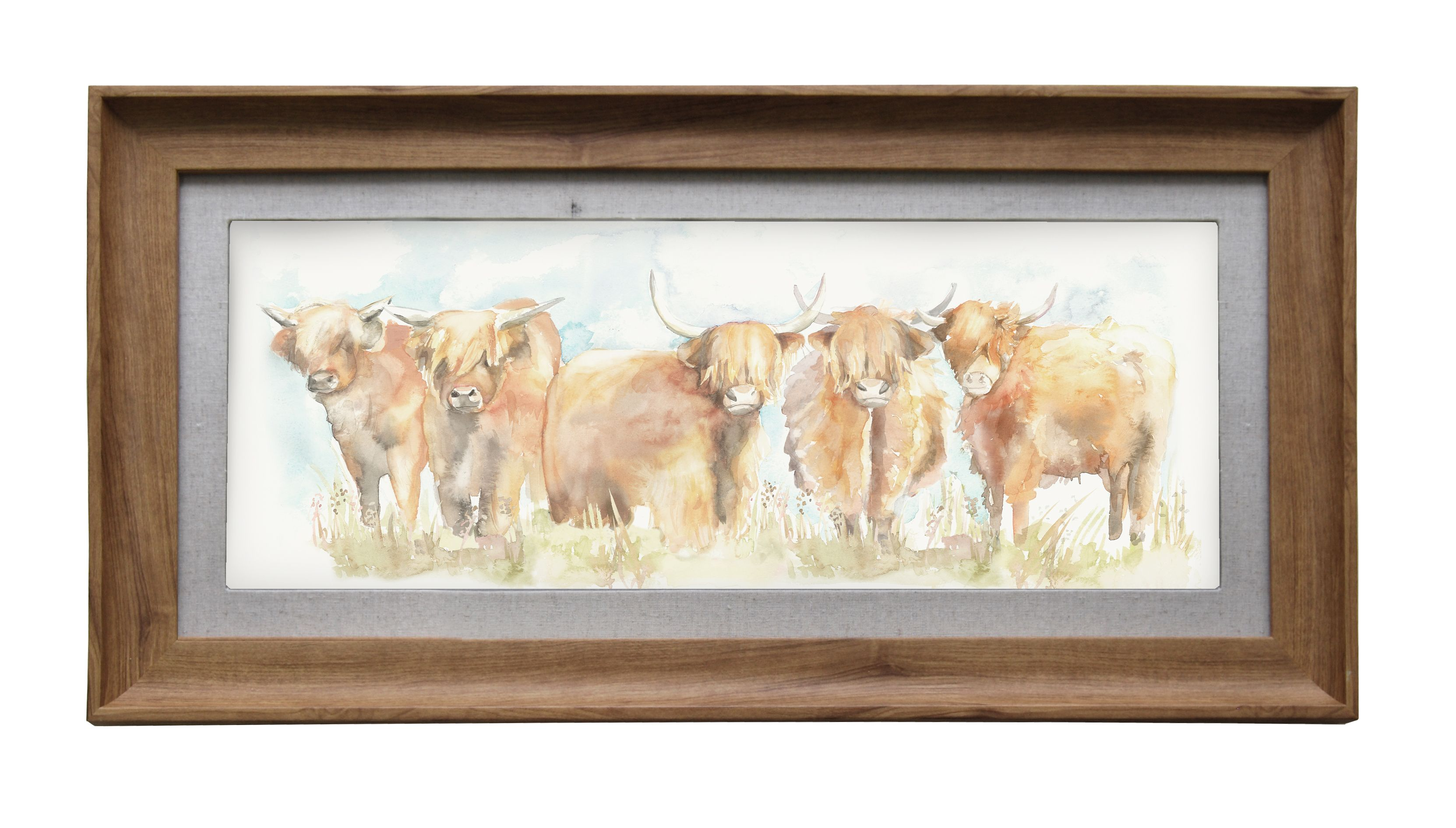Highland Cattle Wall Art 72cmLx36cmH