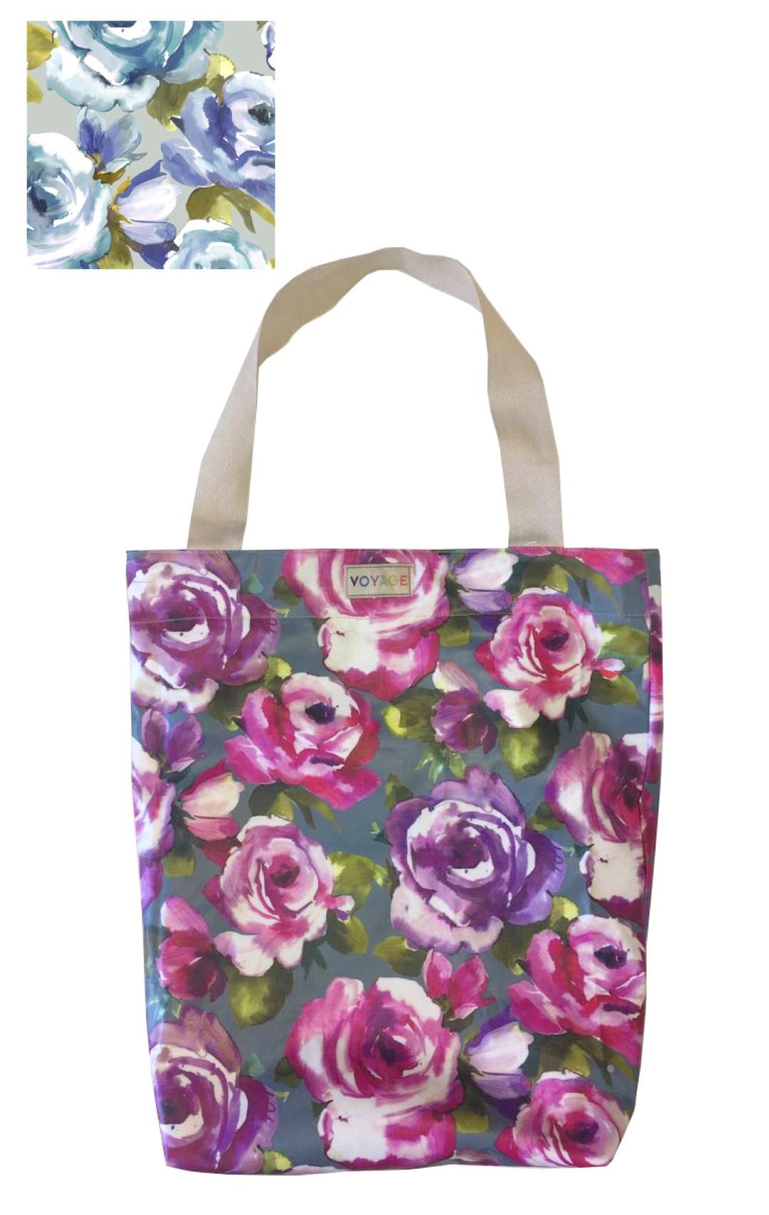 Bluebell Duck Egg Oilcloth Shopper Bag 40x44x13cm