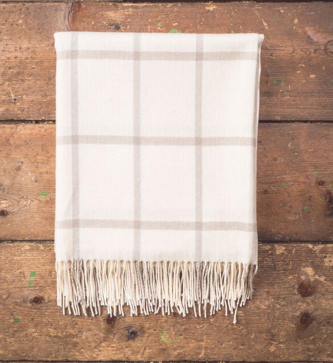 White/Taupe Check Lambswool Throw 140x180cm