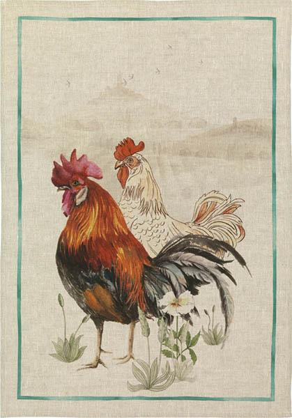 Rooster Green Linen Tea Towel