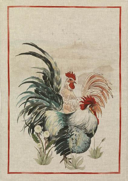 Rooster Red Linen Tea Towel