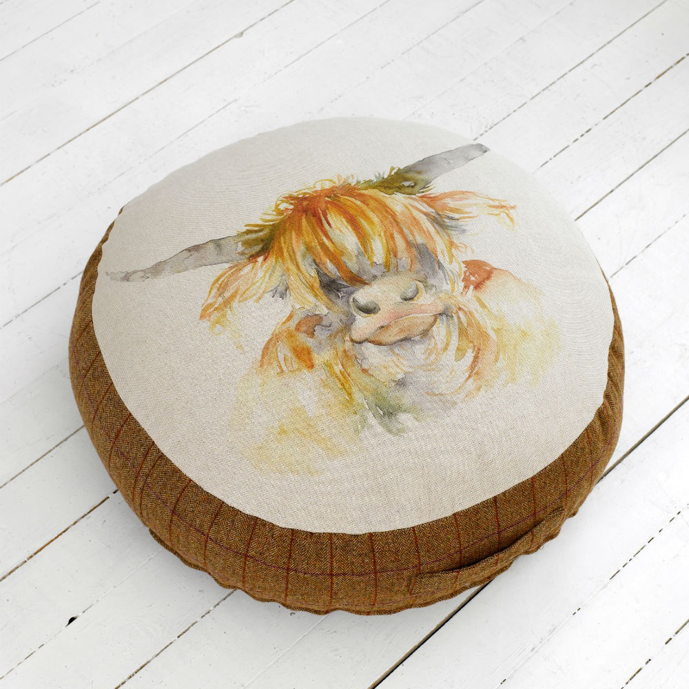 Highland Cow Linen Floor Cushion 75cm Dia x 17cmH