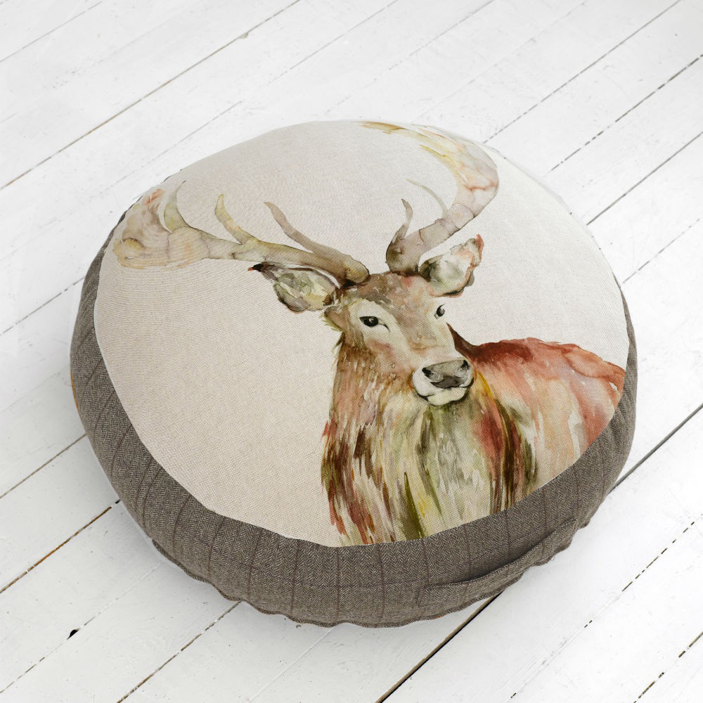 Mr Stag Linen Floor Cushion 75diamx17cmH
