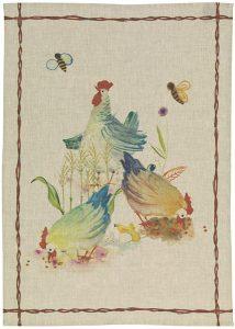 Fattoria Hens Linen Tea Towel 50x70cm