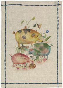 Fattoria Pigs Linen Tea Towel 50x70cm