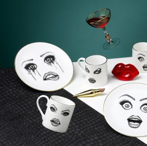 The Poet Plate, Provocateur Mug, Performer Plate, and Prime Donna Mug.