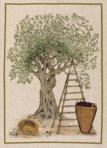 Olive Tree Verde Linen Tea Towel 50x70cm