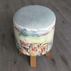 Highland Herd Linen Stool 25x45cm